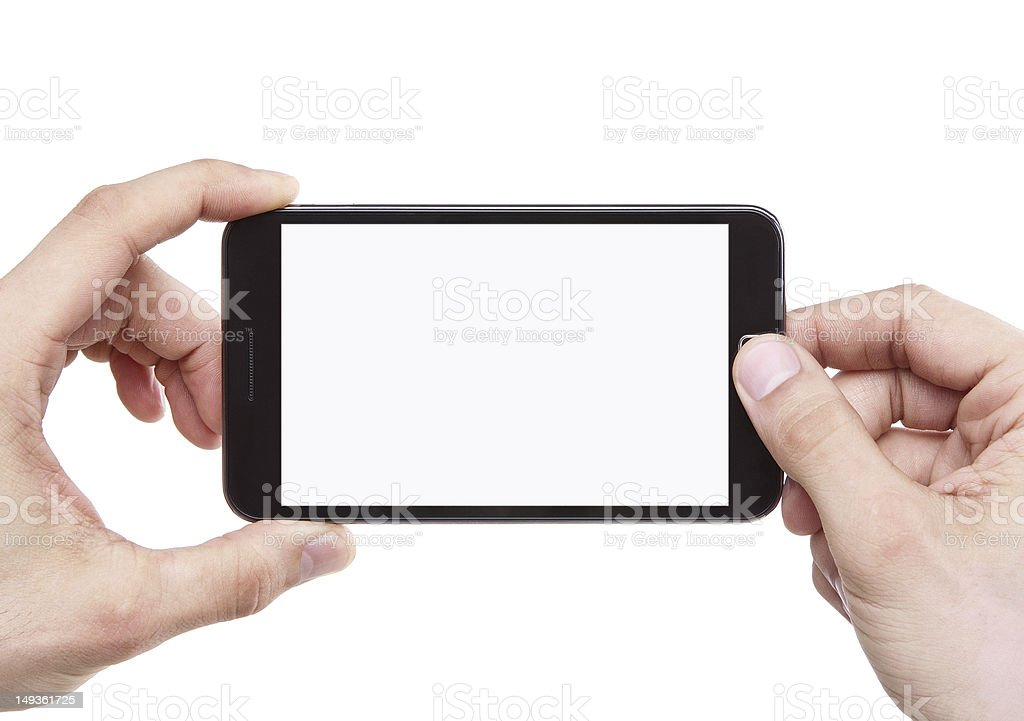 Male hand holding smartphone blank screen taking photo stock photo