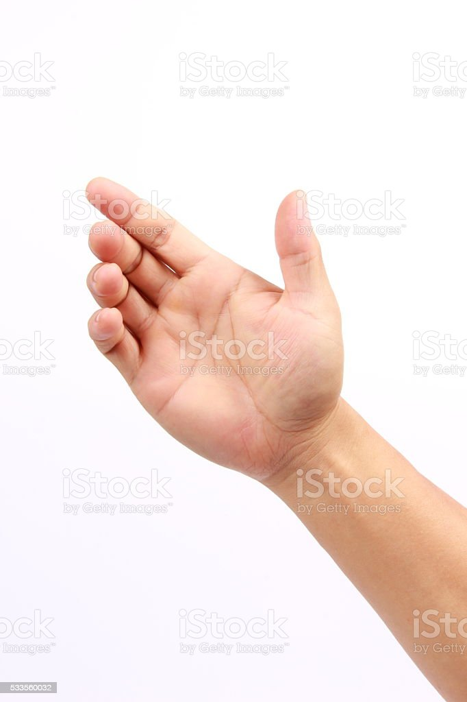 Male hand holding something stock photo