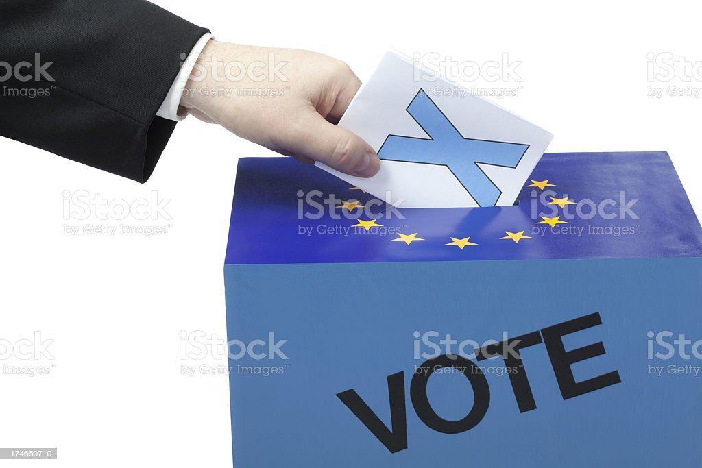 Male hand inserting ballot to EU ballot box royalty-free stock photo
