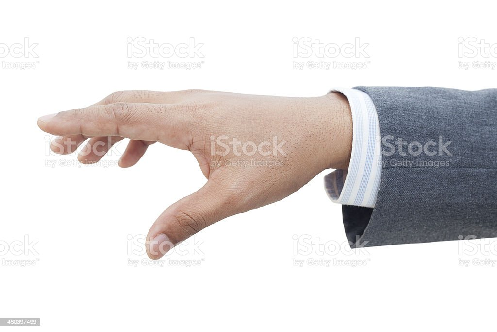 Male hand isolated on white stock photo