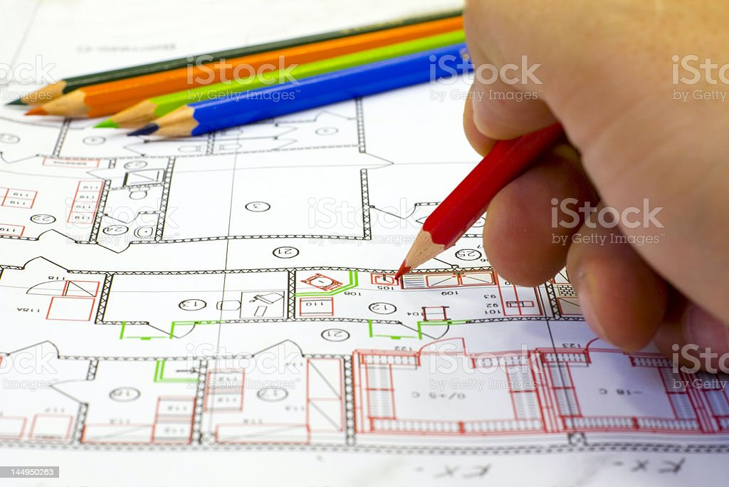 Male hand make the drawing royalty-free stock photo