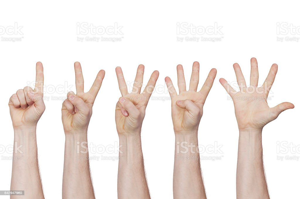 male hand showing fingers from one to five stock photo