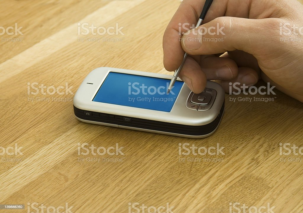 Male hand using pda royalty-free stock photo