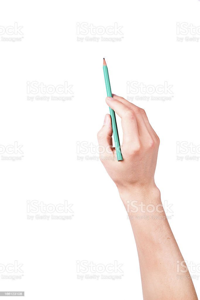 Male hand with a pencil writing something royalty-free stock photo