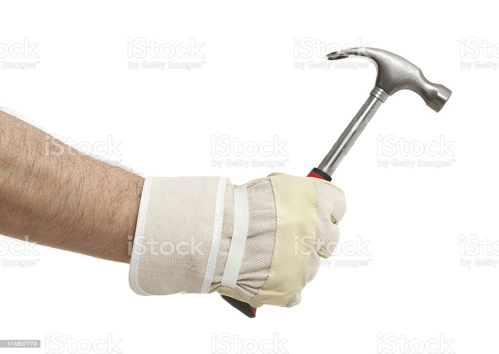 Male hand with hammer on white royalty-free stock photo