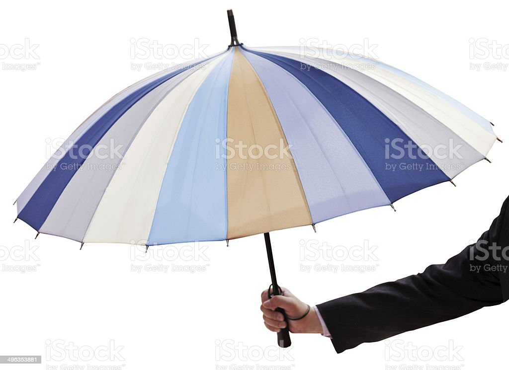 male hand with open multicolored umbrella royalty-free stock photo