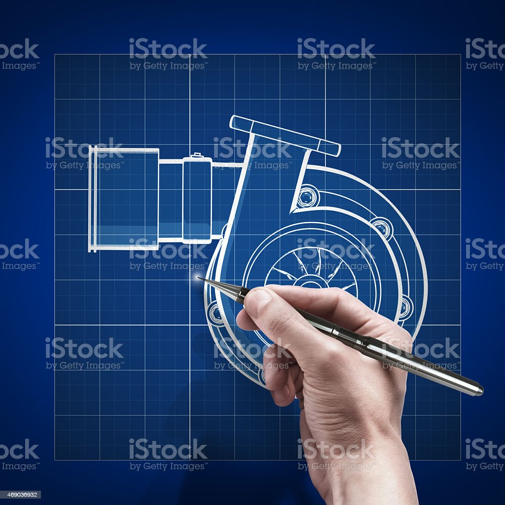 male hand with pen blueprint . engineer working on blue print stock photo