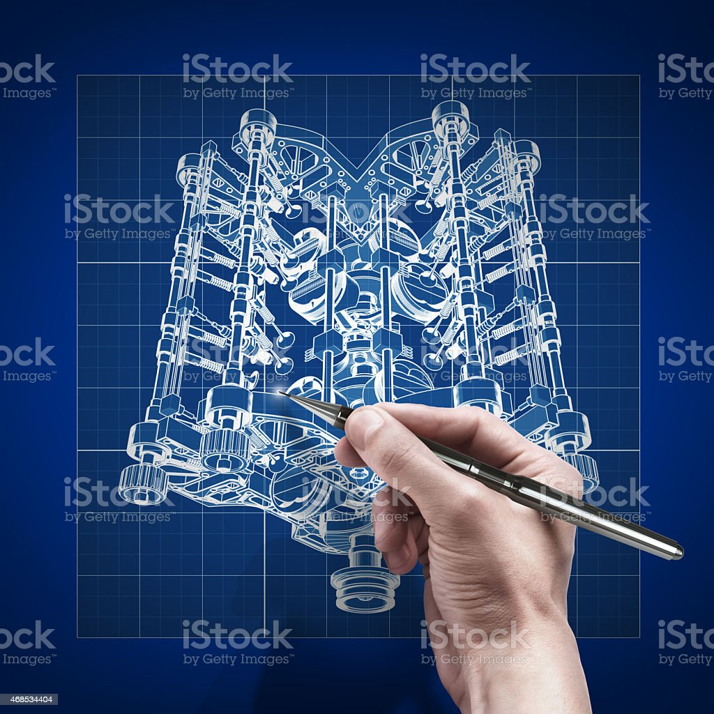 male hand with pen blueprint . engineer working on print concept stock photo