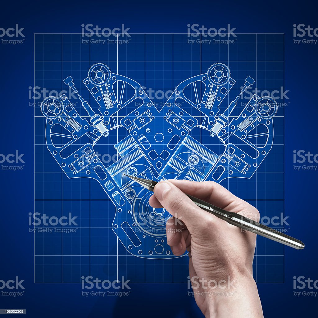 male hand with pen blueprint . engineer working stock photo