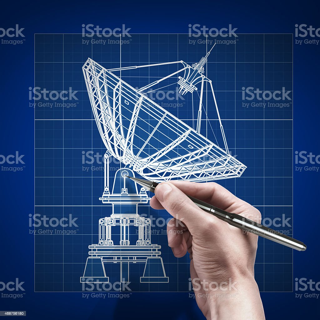 male hand with pen blueprint stock photo