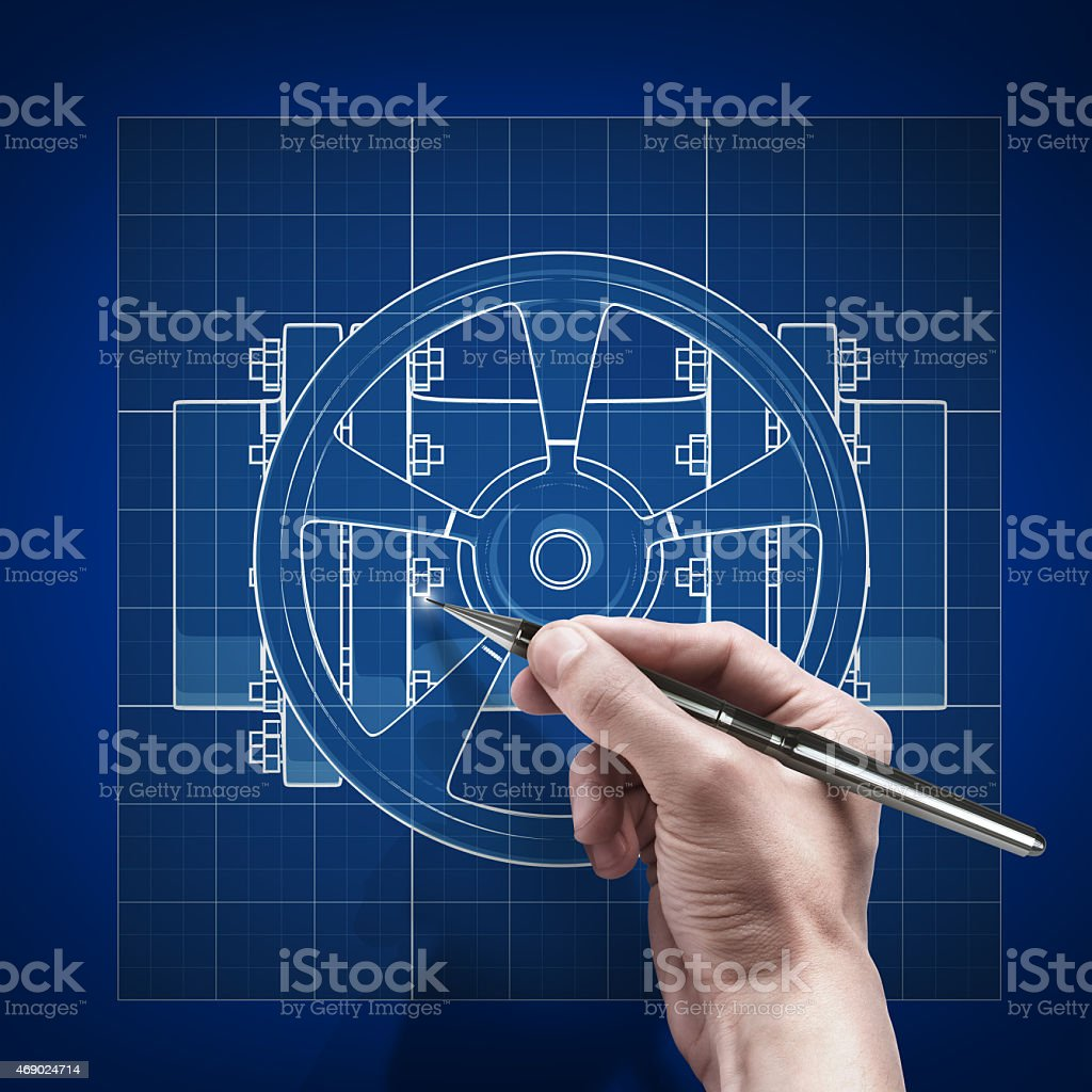 male hand with pen blueprint . stock photo