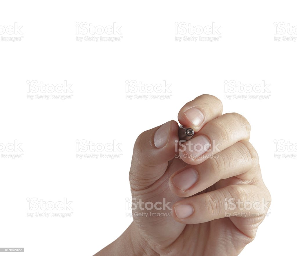 male hand with pen isolated royalty-free stock photo