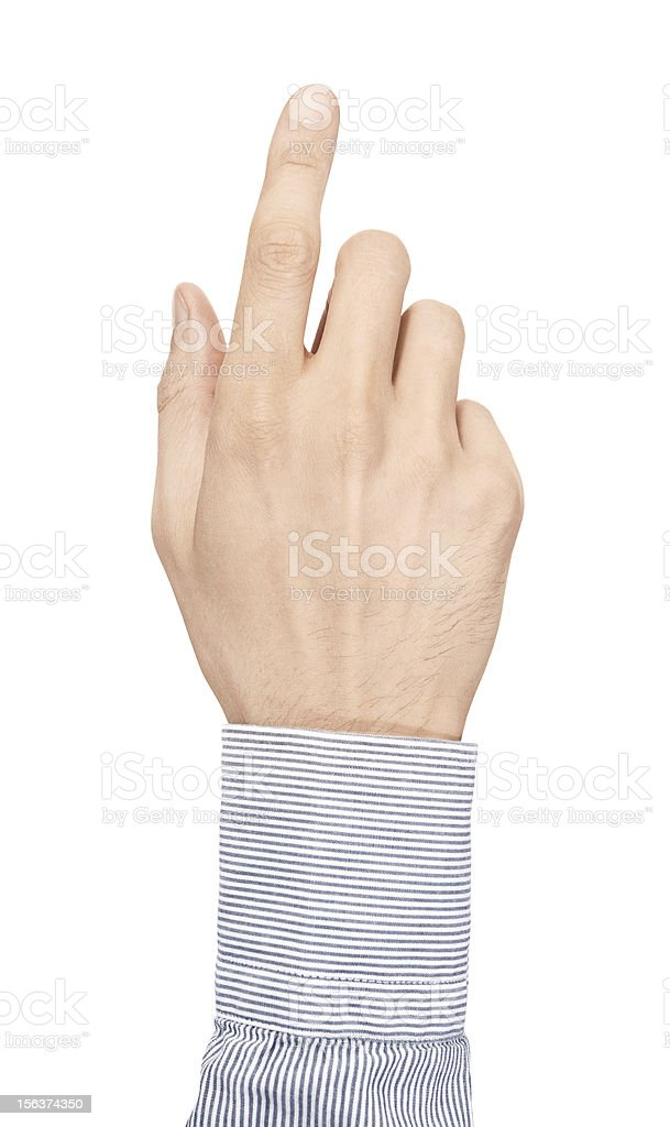 Male hand with pointer finger out straight royalty-free stock photo
