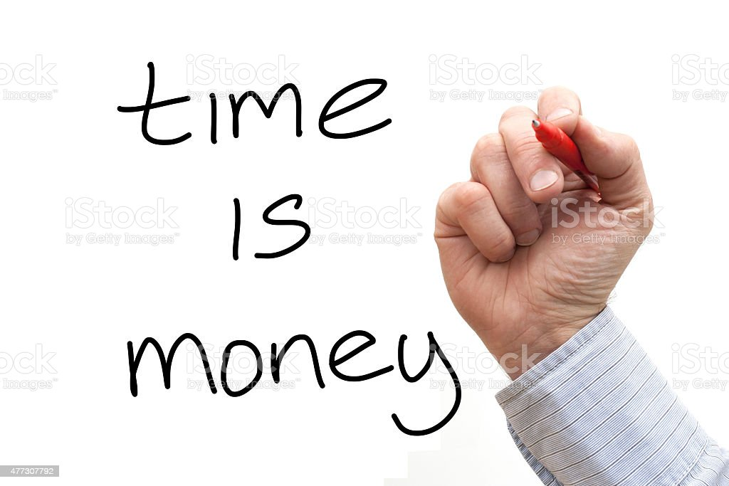 Male hand writing 'Time is Money' over a White Background stock photo