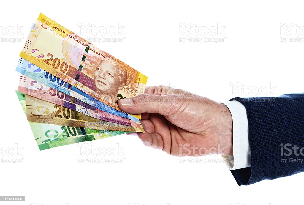 Male hands hold all the new South African banknotes stock photo