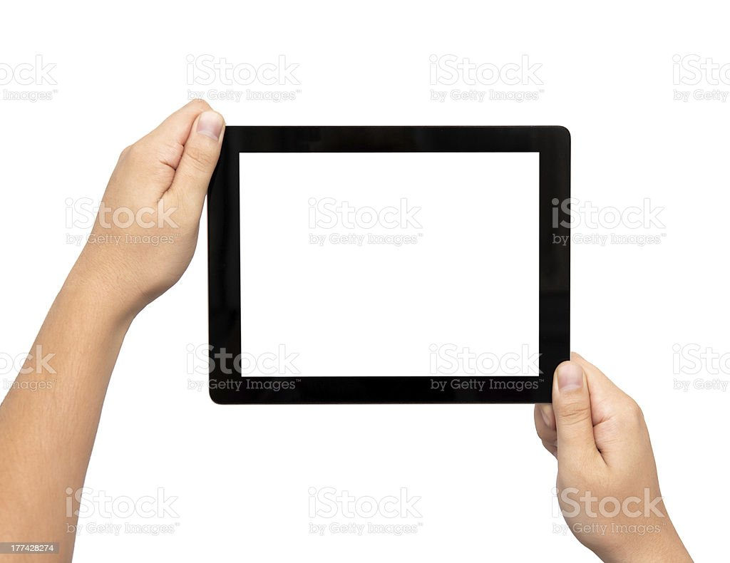 male hands holding a tablet royalty-free stock photo
