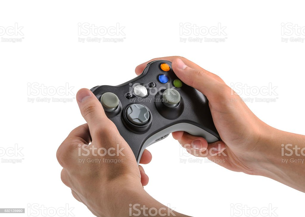 Male Hands Holding Gamepad isolated stock photo