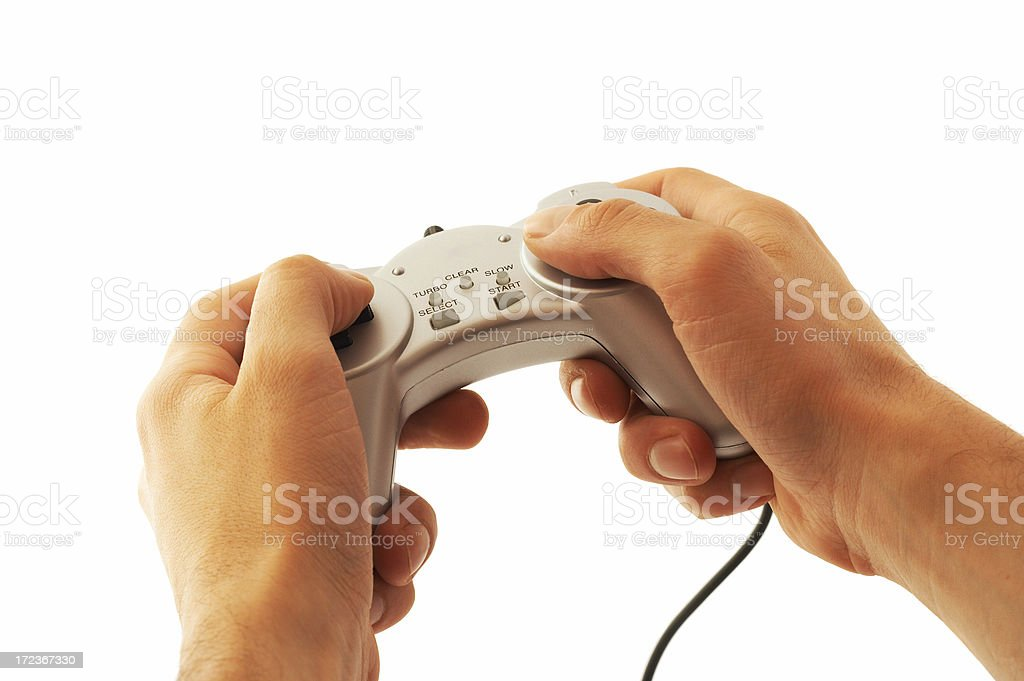 Male hands holding gamepad royalty-free stock photo