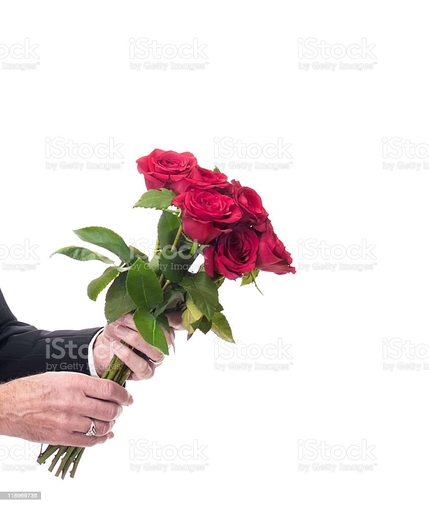 Male hands holding out a bouquet of beautiful red roses stock photo