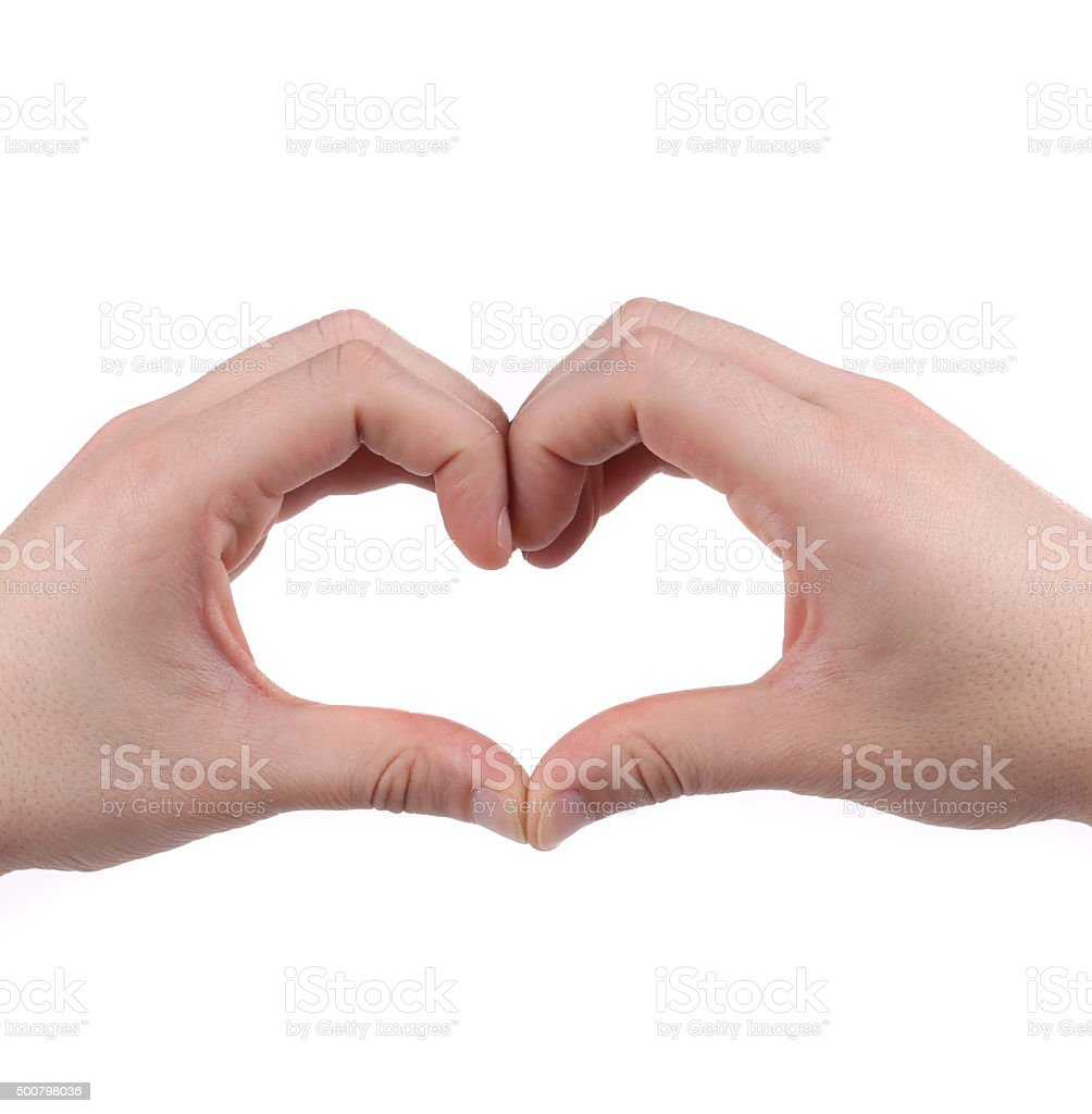 Male hands in the form of heart. stock photo