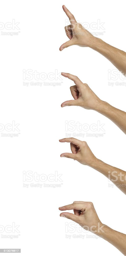 Male hands measuring stock photo