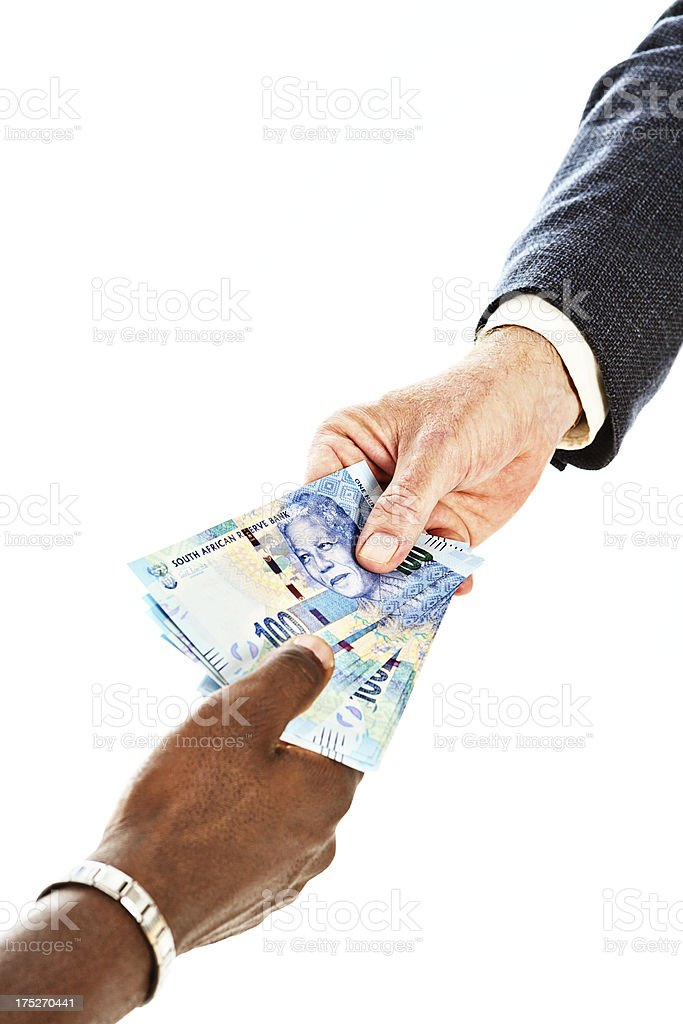 Male hands passing  South African One Hundred rand banknotes stock photo