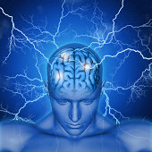 3D male head and brain with lightening