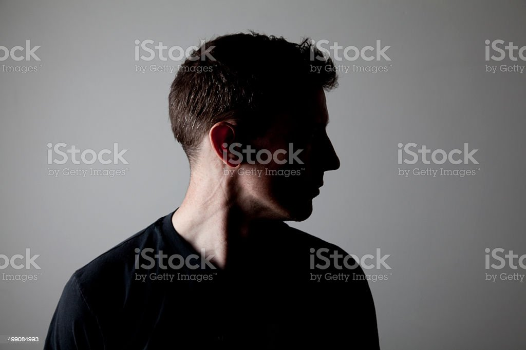 Male head Silhouette stock photo