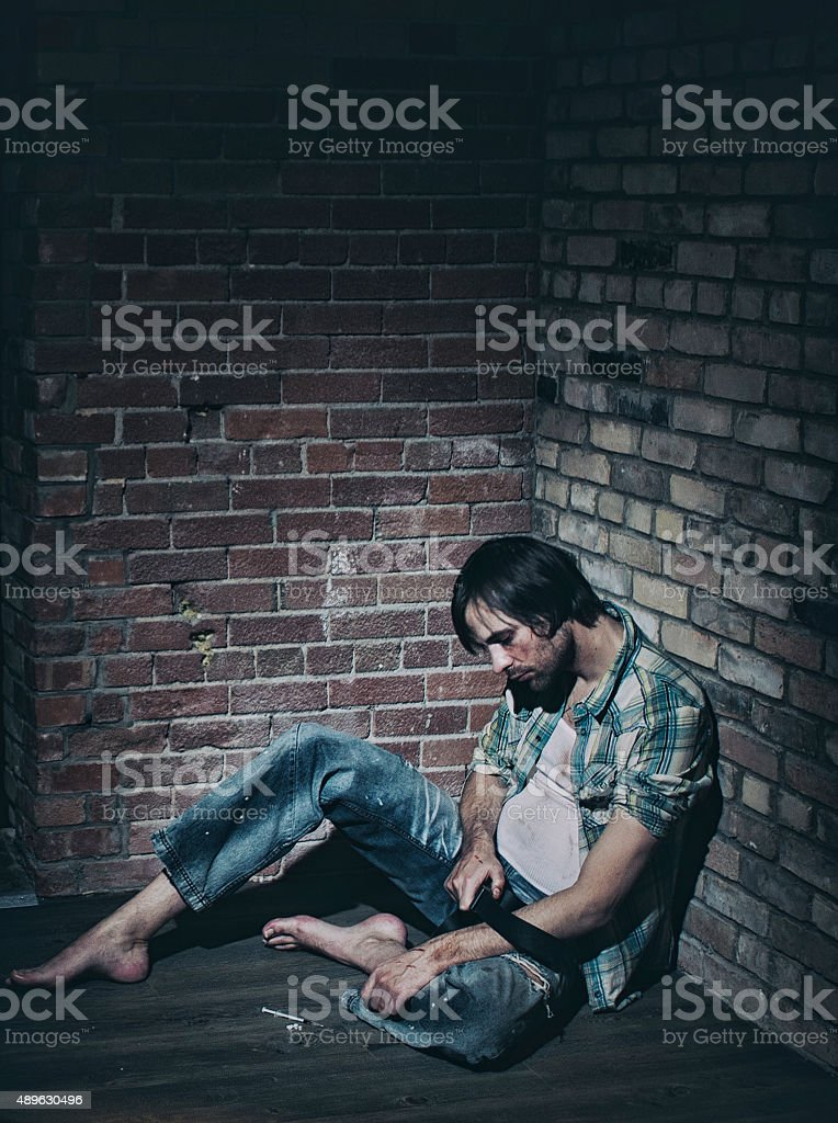 Male Heroin Addict stock photo