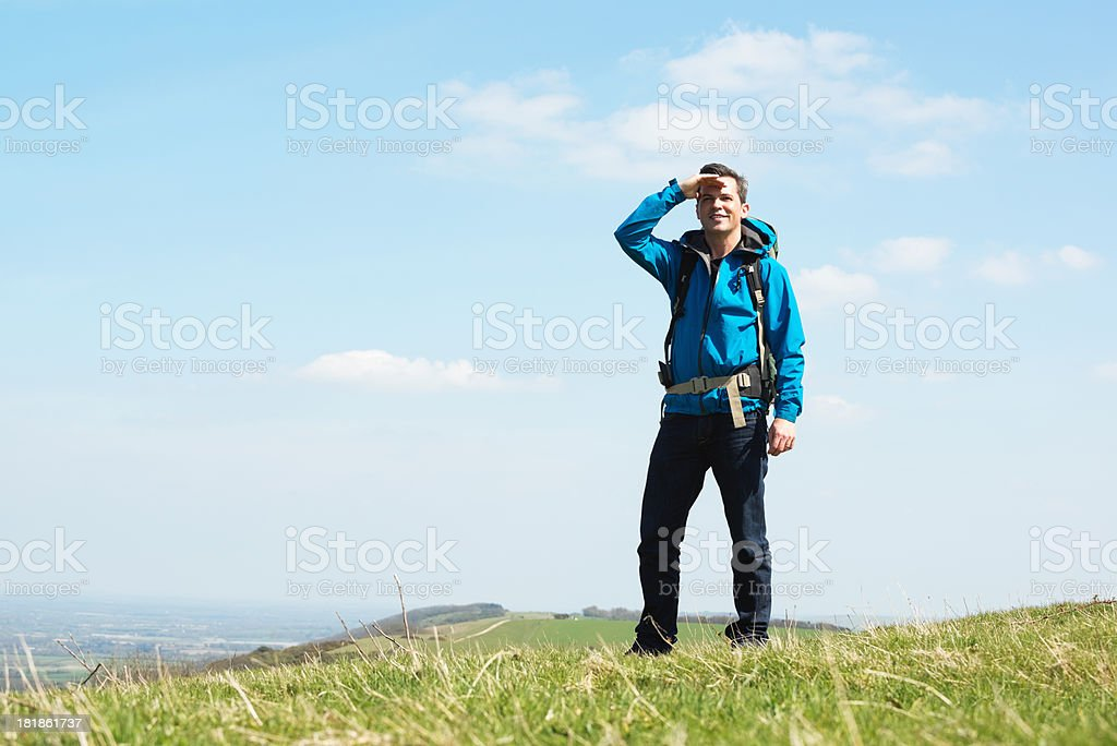Male Hiker Looking To Horizon royalty-free stock photo