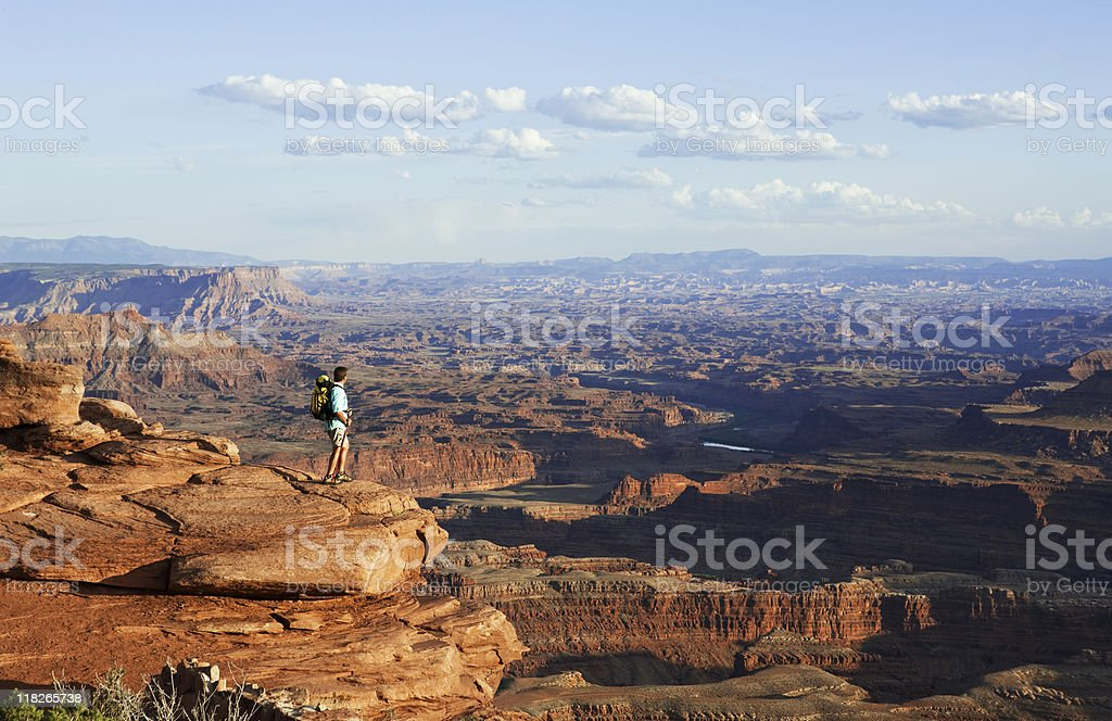 Male Hiker Standing On Top Of Rocky Ledge Above Canyons royalty-free stock photo