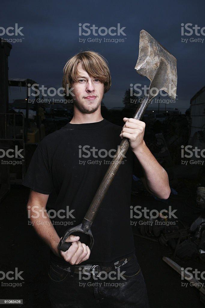Male Holding a Shovel Portrait royalty-free stock photo