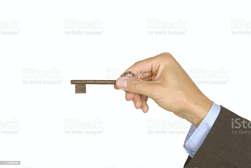 Male holding door key royalty-free stock photo