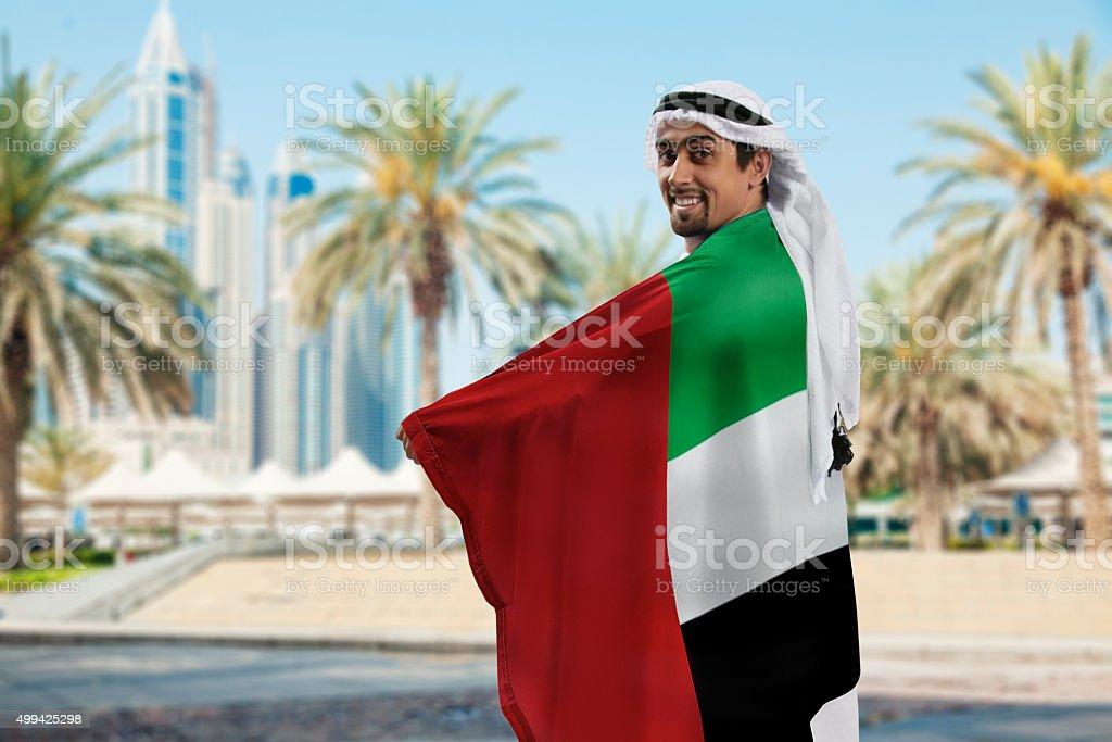 Male Holding Flag stock photo