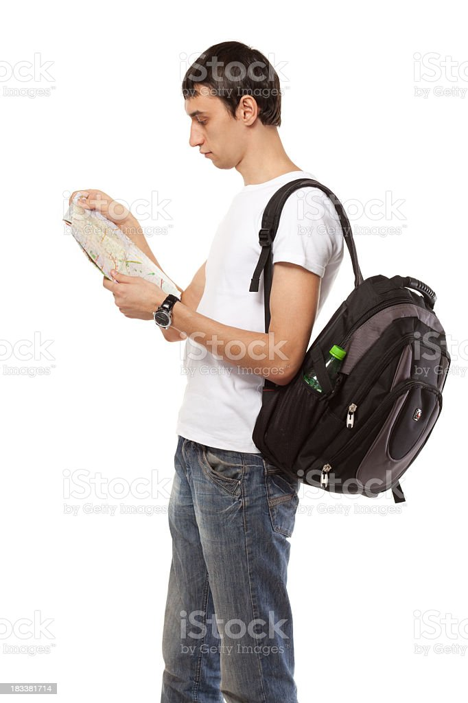 Male holding map royalty-free stock photo