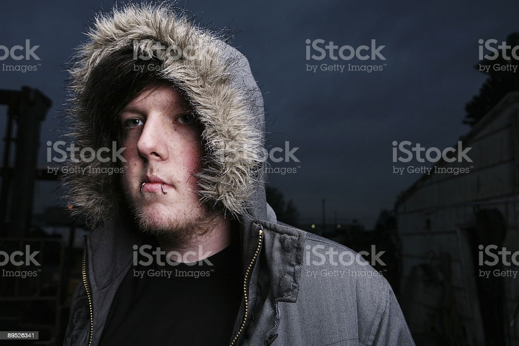 Male Horizontal Coat Night Sky Portrait royalty-free stock photo