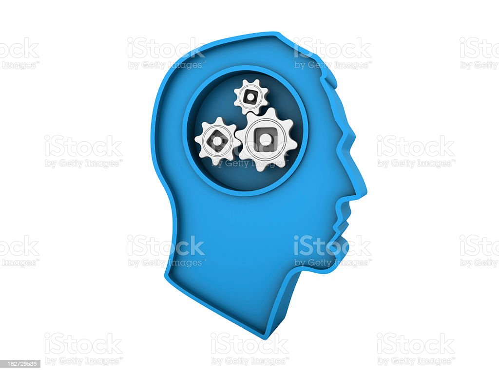 Male Human Head Profile with Gears royalty-free stock photo