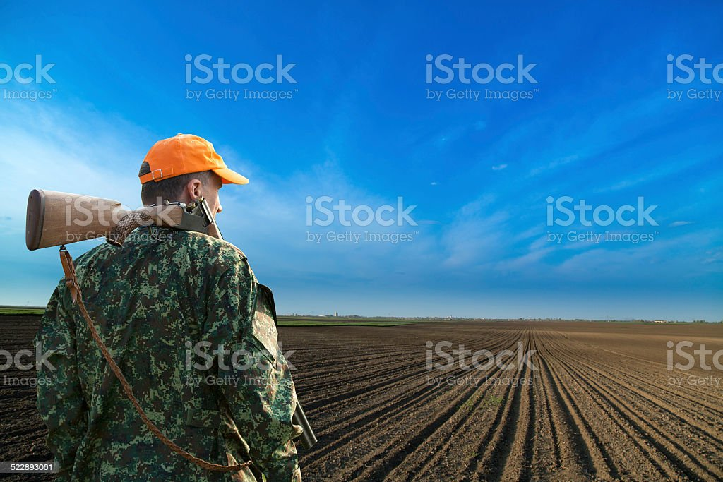 Male hunter looking at field during hunt season stock photo