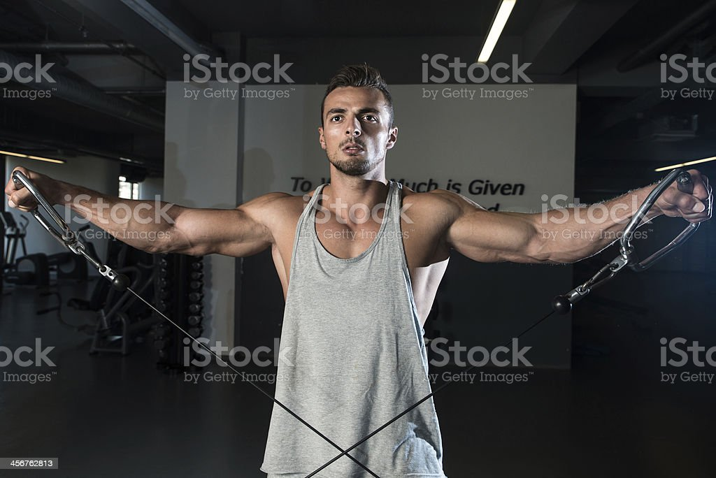 Male in a gym using cable to exercise stock photo