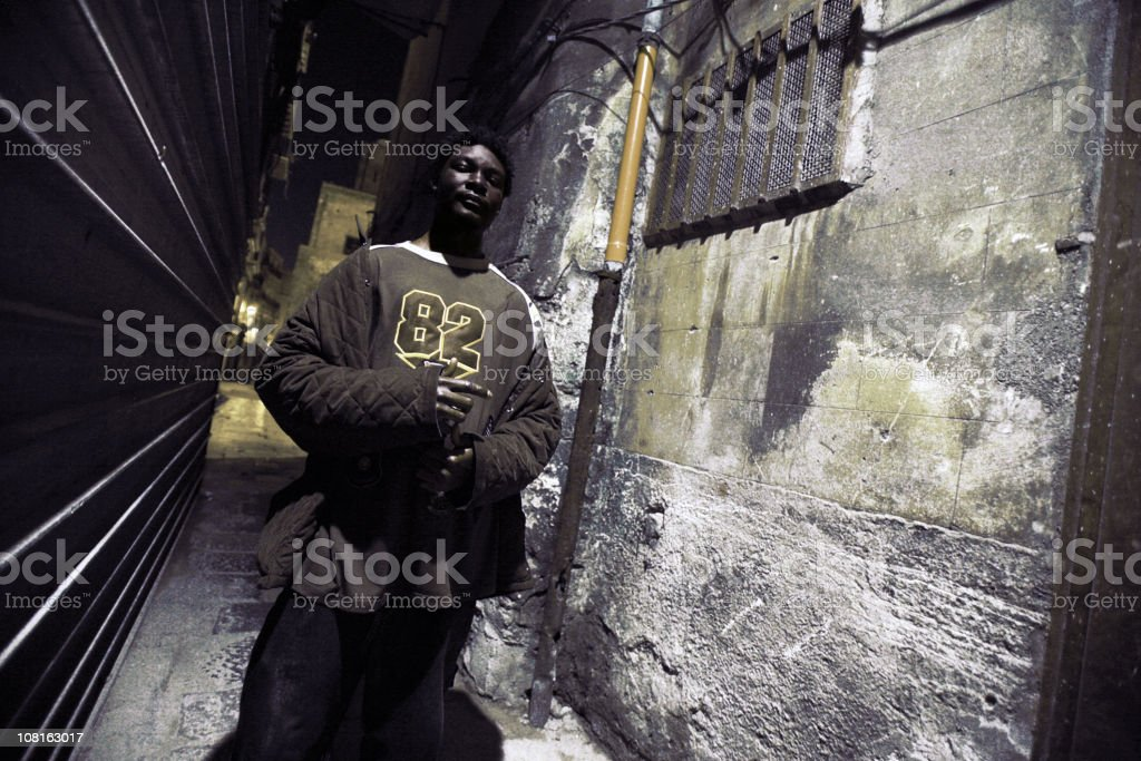 Male in Grungy Alleyway royalty-free stock photo