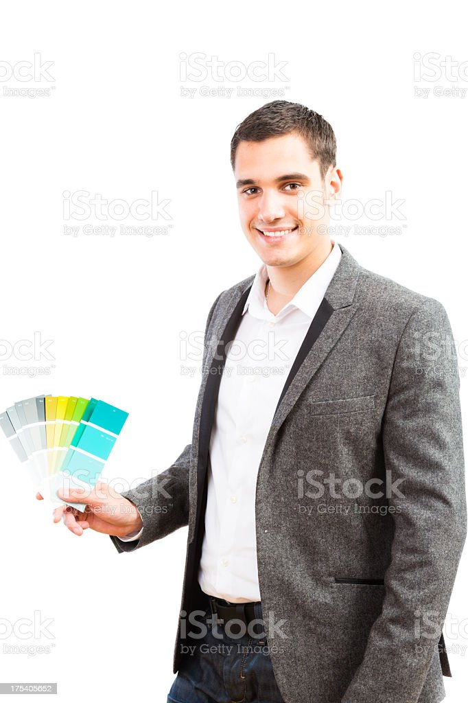 male interior designer with color swatches royalty-free stock photo