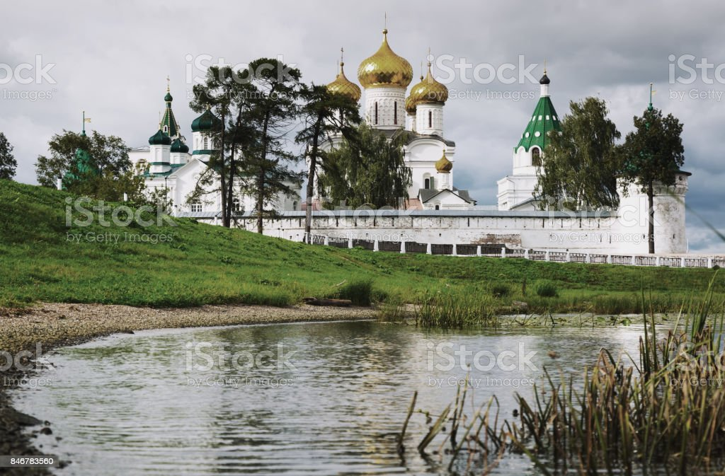 Male Ipatievsky Monastery at cloudy day in Kostroma, Russia stock photo