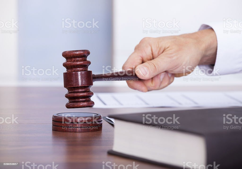 Male Judge In A Courtroom stock photo