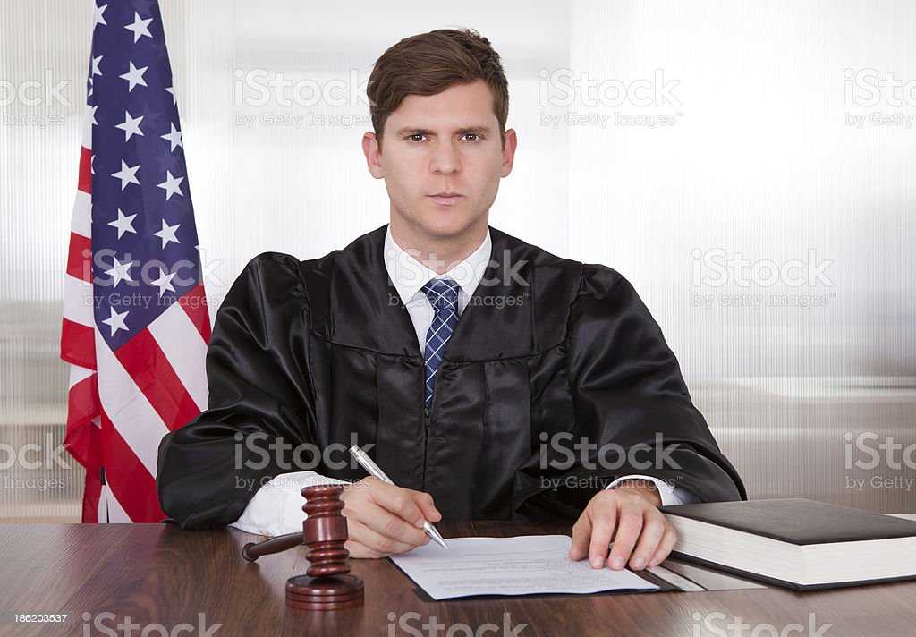 Male Judge In Courtroom royalty-free stock photo