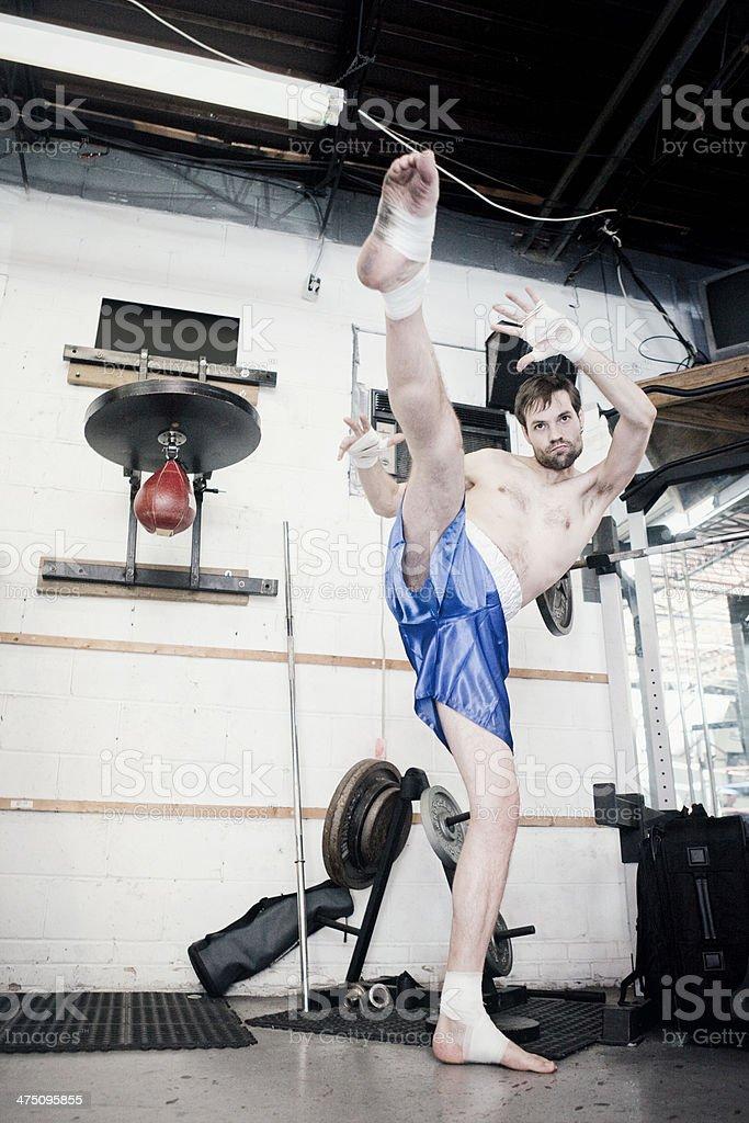 Male Kickboxer Training stock photo