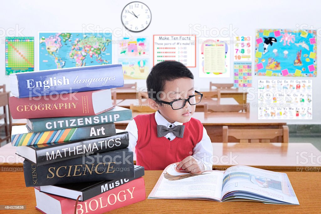 Male kid studying with lesson books in class stock photo