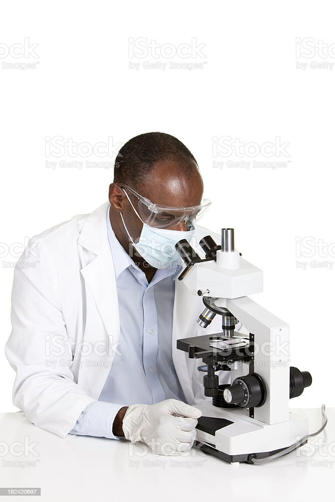 Male Lab Technician with Microscope royalty-free stock photo