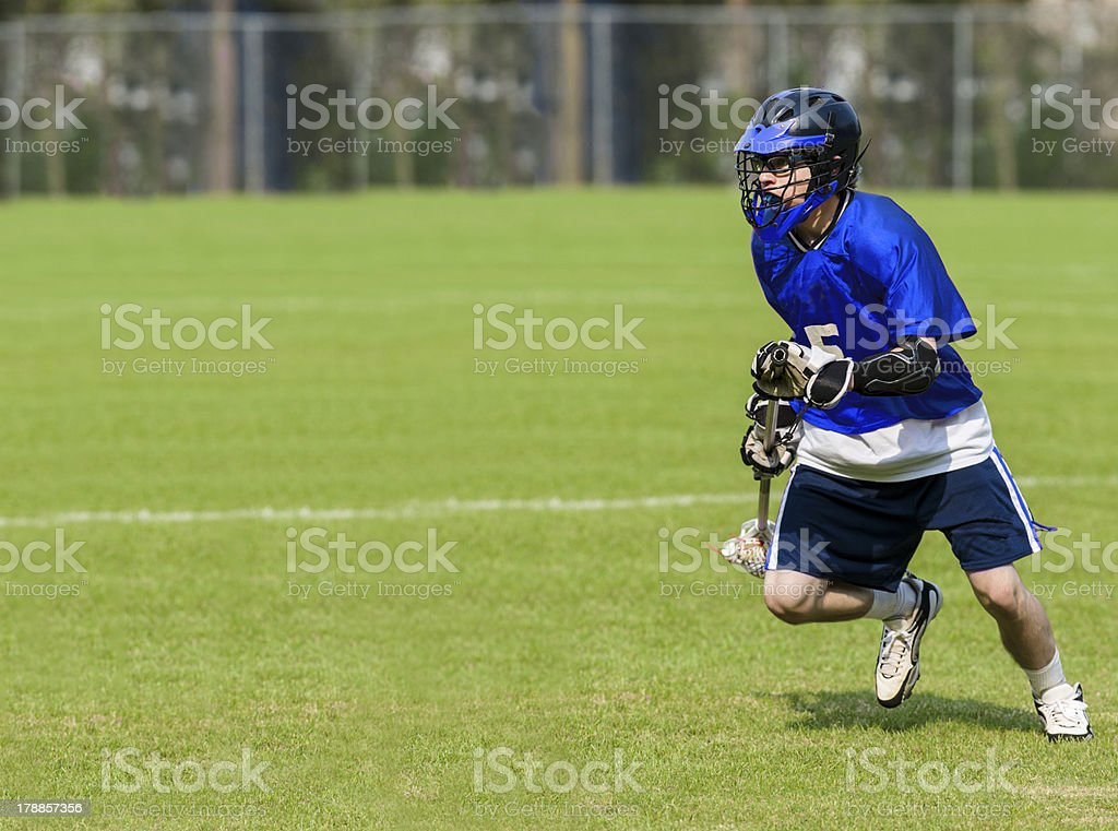 Male lacrosse player stock photo