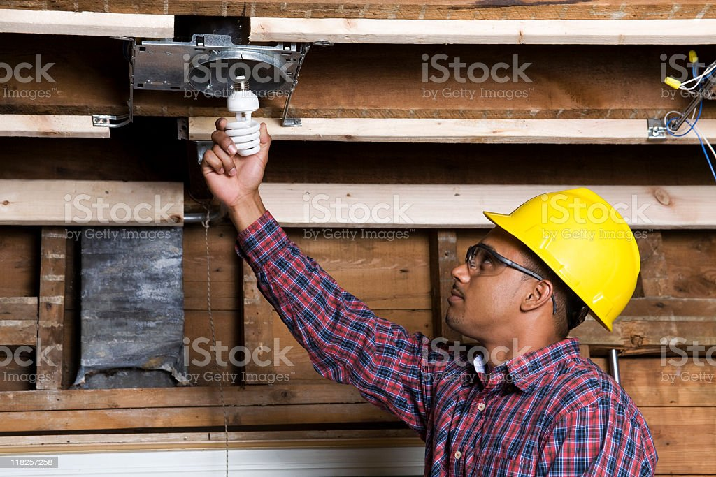 Male latino construction worker stock photo