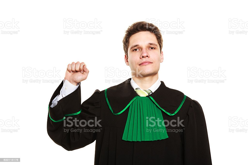 Male lawyer show sign with hand. stock photo